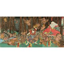 歌川国芳: Ushiwakamaru being trained by tengu in Mount Kurama, triptych, 1858 - 原書房