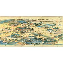 Utagawa Hiroshige: View of Tomigaoka Hachiman Shrine, Fukagawa, triptych, c.1837 - Hara Shobō