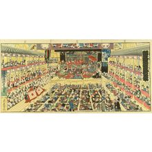 歌川国貞: An interior of a theater, triptych, 1858 - 原書房