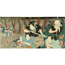 歌川国芳: A scene of a kabuki performance, triptych, 1853 - 原書房