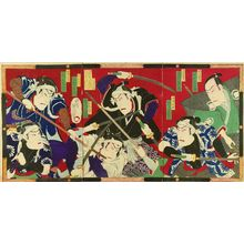 KUNIMASA IV: A scene of a kabuki performance, triptych, 1879 - Hara Shobō