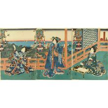 TOYOKUNI ��: Beauties on a terrace overlooking the sea, titled - 原書房