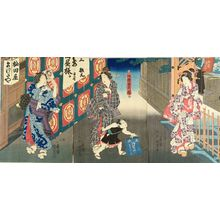 Utagawa Kunisada II: View of Furisode Inari Shrine, triptych, c.1848 - Hara Shobō