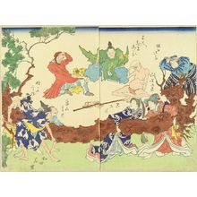 UNSIGNED: A caricature, illustrating figures pulling a pine tree while a foreigner laughing at, diptych - Hara Shobō