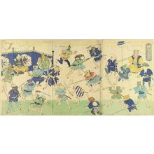 UNSIGNED: A caricature, illustrating various merchandise fighting, triptych - Hara Shobō