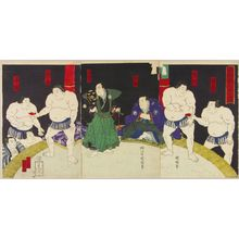Utagawa Kuniaki: A scene after a drawn sumo match, triptych, 1876 - Hara Shobō