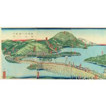 Utagawa Sadahide: Eight views of Lake Biwa at a glance, triptych, 1863 - Hara Shobō