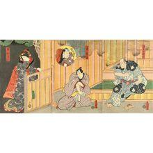 Utagawa Kunisada: A scene of a kabuki performance, triptych, 1858 - Hara Shobō