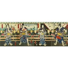 KUNISADA��: Portrait of actors as braveries, four sheets, 1857 - Hara Shobō