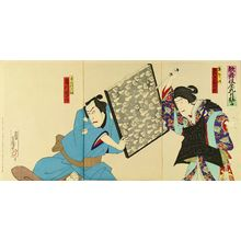 HOSAI: A scene of a kabuki performance, triptych, 1899 - Hara Shobō