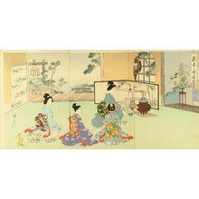 Watanabe Nobukazu: Tea ceremony, triptych, 1897 - Hara Shobō