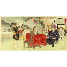 Migita Toshihide: Kuroda Kiyoteru visiting Saigo Takamori, triptych, details printed in lacquer, 1892 - Hara Shobō