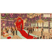 Adachi Ginko: Ceremony of the silver wedding of the Meiji Emperor, triptych, 1894 - Hara Shobō