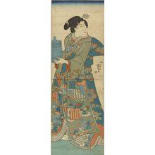 Utagawa Kuniyoshi: A beauty holging a pot, vertical diptych, c.1844 - Hara Shobō