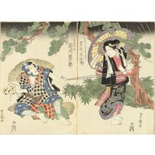 Utagawa Toyokuni I: A scene of a kabuki performance, diptych, 1824 - Hara Shobō