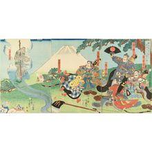 Utagawa Yoshitsuya: Minamoto no Yorimitsu meeting Sakata Kintoki, triptych, 1858 - Hara Shobō