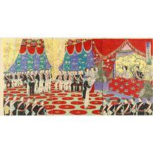 Watanabe Nobukazu: A ceremony of the emperor's silver anniversary, triptych, 1894 - Hara Shobō