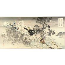 水野年方: A scene of Japan-China war, triptych, 1894 - 原書房