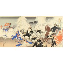 Migita Toshihide: A scene of Japan-China war, triptych, 1894 - Hara Shobō