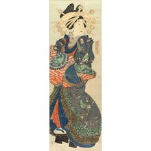 Utagawa Yoshitora: A full-length of a courtesan, vertical diptych, mounted as a hanging scroll, 1859 - Hara Shobō