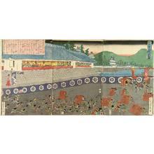 Utagawa Sadahide: A battle of Kamakura, triptych, c.1848 - Hara Shobō