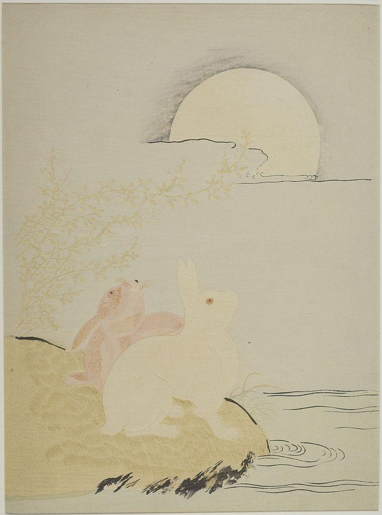 Edo period date edo period middle 1704 1789 details more information - Isoda Koryusai Hares And Bushclover In Moonlight Edo