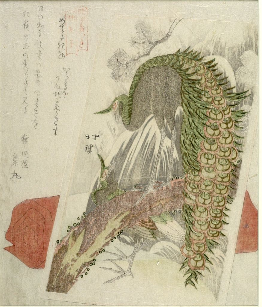 Totoya Hokkei Congratulatory Painting Of A Peacock And
