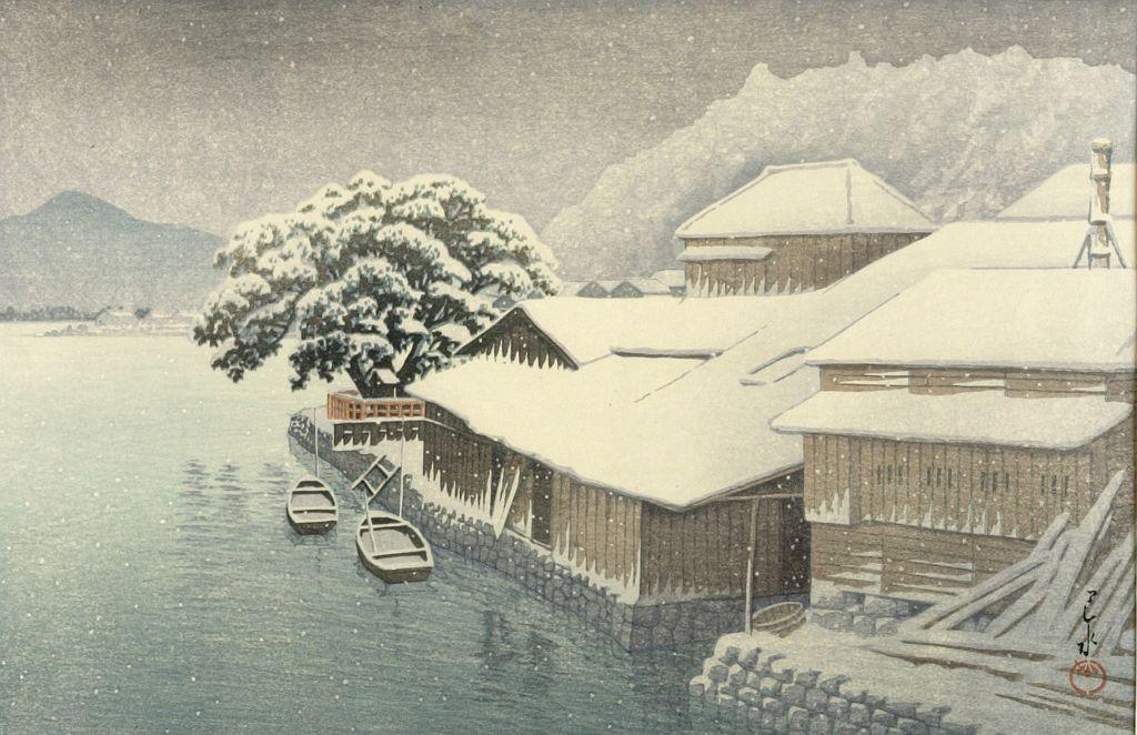 Kawase Hasui: Evening Snow at Ishinomaki (Ishinomaki bosetsu), from the  series Collection of Scenic Views of