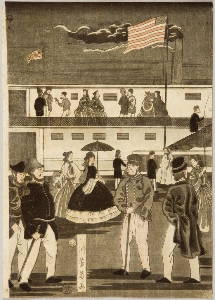 歌川芳員: Transit of an American Steam Locomotive (Amerika koku jôkisha ôrai), published by Maruya Jimpachi, Late Edo period, tenth month of 1861 - ハーバード大学 - 浮世絵検索