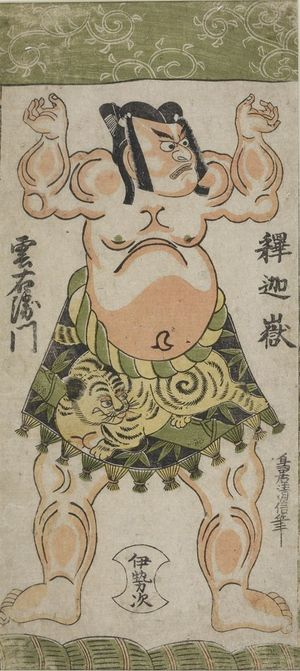 Edo period date edo period middle 1704 1789 details more information - Torii Kiyonobu Ii Wrestler Shakagadake Kumoemon Edo