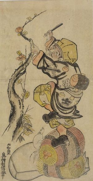 Okumura Toshinobu: Daikoku Cutting Plum Blossoms, Edo period, circa early 18th century - Harvard Art Museum