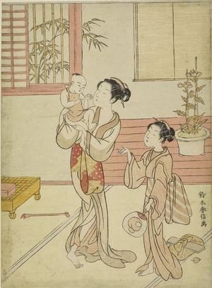 鈴木春信: Woman and Girl Amusing a Baby, Edo period, datable to 1767 - ハーバード大学