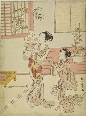 Suzuki Harunobu: Woman and Girl Amusing a Baby, Edo period, datable to 1767 - Harvard Art Museum