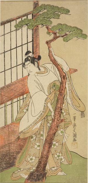 Ippitsusai Buncho: Actor Ichikawa Monnosuke 2nd as Tsunewakamaru in the play Iro Moyô Aoyagi Soga performed at the Nakamura Theater from the second month of 1775, Edo period, 1775 (2nd month) - Harvard Art Museum