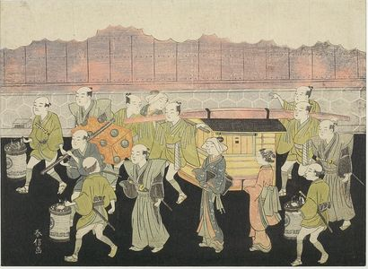 鈴木春信: Bride Riding in Palanquin (Koshi-iri), Number 3 from the series Marriage in Brocade Prints, the Carriage of the Virtuous Woman (Konrei nishiki misao-guruma), Edo period, circa 1769 (Meiwa 6) - ハーバード大学