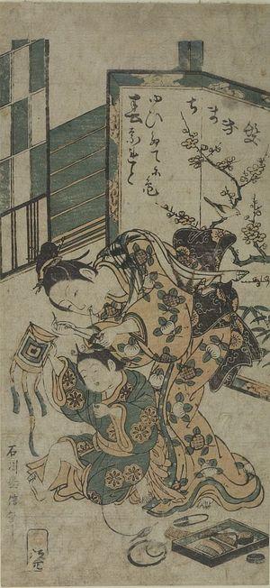 Ishikawa Toyonobu: MOTHER DRESSING BOY'S HAIR - Harvard Art Museum