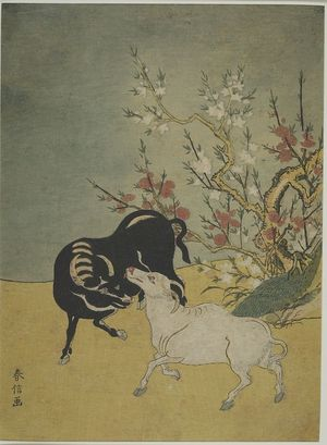 Edo period date edo period middle 1704 1789 details more information - Suzuki Harunobu Oxen And Plum Trees Edo Period Circa