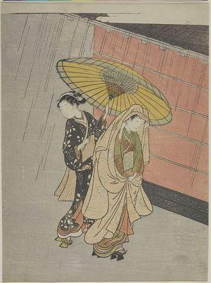鈴木春信: Two Girls in the Rain, Edo period, circa 1765-1770 - ハーバード大学