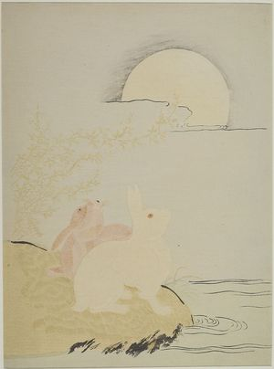 磯田湖龍齋: Hares and Bushclover in Moonlight, Edo period, circa 1773 - ハーバード大学