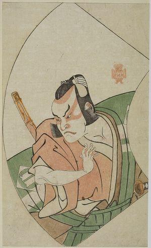 Katsukawa Shunsho: LEFT-MAN IN GREEN AND TAN,FAN, 2 SWORDS - Harvard Art Museum
