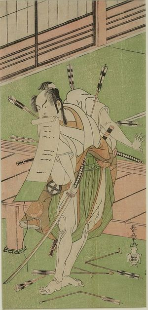 Katsukawa Shunsho: Actor ôtani Hiroji 3rd as a White Fox disguised as Ukishima Daihachi from the play Shinsadame Sôma no Mombi performed at the Ichimura Theater from the seventh month of 1770, Edo period, 1770 (7th month) - Harvard Art Museum