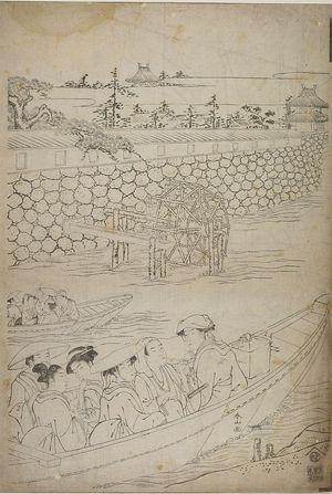 Katsukawa Shunzan: TWO FERRY BOATS NEAR A LANDING AND ROUGH STONE WAL L - Harvard Art Museum