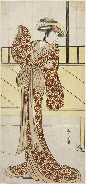 Katsukawa Shun'ei: WOMAN IN YELLOW KIMONO WITH RED SPIDER WEB - Harvard Art Museum