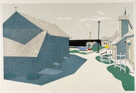 北岡文雄: Fishing Village, Shôwa period, dated 1959 - ハーバード大学
