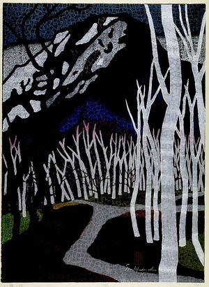 Mabuchi Thoru: Road of Birch Trees, Shôwa period, dated 1960 - Harvard Art Museum