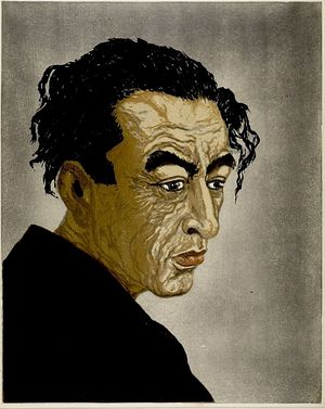 Onchi Koshiro: Portrait of Poet Hagiwara Sakutarô (posthumous edition 1957), Shôwa period, posthumous edition dated 1957 (original dated 1943) - Harvard Art Museum