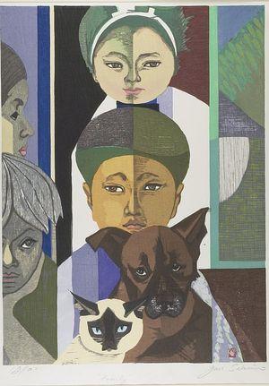 Sekino Jun'ichiro: My Family, Dog and Cat, Shôwa period, 1957 - Harvard Art Museum