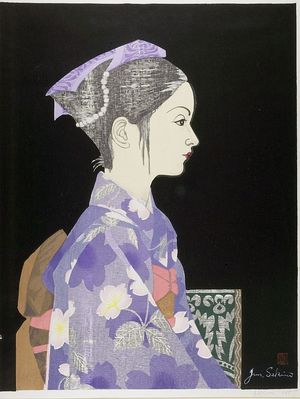 関野準一郎: Profile of Young Girl in Kimono, Shôwa period, dated 1957 - ハーバード大学