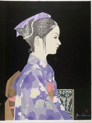 Sekino Jun'ichiro: Profile of Young Girl in Kimono, Shôwa period, dated 1957 - Harvard Art Museum