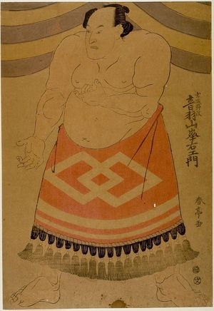 勝川春亭: Wrestler Otowazan Minezaemon - ハーバード大学